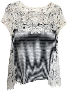 Anthropologie Petite Lace Trim Cap Sleeves T Shirt Black and white stripes