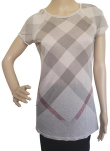 Burberry Nova Check Plaid Knit Monogram House Check T Shirt Beige, Red
