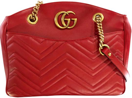 5b6893aa2e1c Gucci Marmont Handbag Red Leather Shoulder Bag - Tradesy