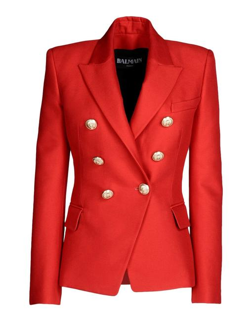 Item - Red New Double Breasted Wool Blend Blazer Size 4 (S)