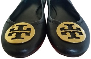 Tory Burch Gold Black Leather Flats