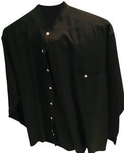 Bruno Menegatti Longsleeve Silk-italian Banded Collar Button Down Shirt Black