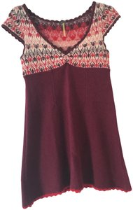 Free People short dress Burgundy Wool on Tradesy