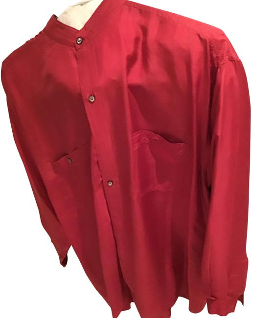 Item - Red Long Sleeve Silk Shirt Button-down Top Size 14 (L)