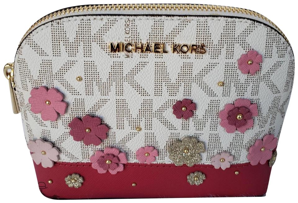 ce7ccf96f1b1 Michael Kors Pink Vanilla Emmy Large Travel Pouch Floral Cosmetic ...