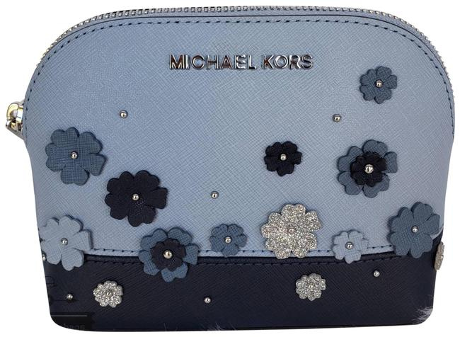 Item - Navy Blue Large Travel Pouch Floral Cosmetic Bag