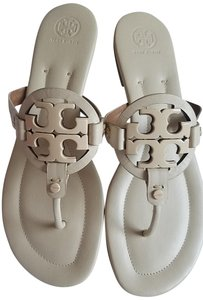 Tory Burch Miller Leather Cream Sandals
