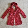 Burberry Red Beige Vermillion Nova Check Print Belted Coated Jacket Size 10 (M) Burberry Red Beige Vermillion Nova Check Print Belted Coated Jacket Size 10 (M) Image 2