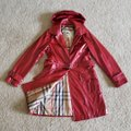 Burberry Red Beige Vermillion Nova Check Print Belted Coated Jacket Size 10 (M) Burberry Red Beige Vermillion Nova Check Print Belted Coated Jacket Size 10 (M) Image 3