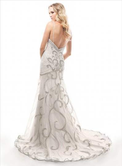 Maggie Sottero Alabaster with Silver Accent (Shown) Champagne with Silver/Gold Accent Tulle Over Evita Satin Fmk847 Vintage Wedding Dress Size 10 (M) Image 1