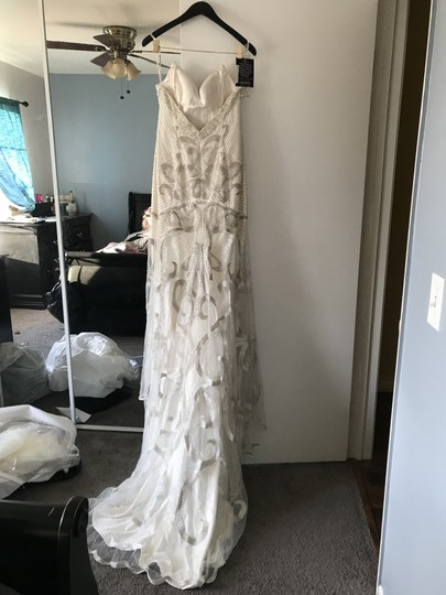 Maggie Sottero Alabaster with Silver Accent (Shown) Champagne with Silver/Gold Accent Tulle Over Evita Satin Fmk847 Vintage Wedding Dress Size 10 (M) Image 6