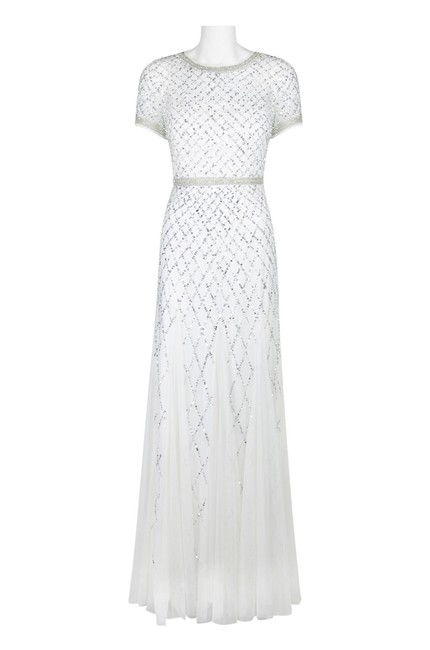 Adrianna Papell Beaded Gown Champagne Long Short Sleeve Dress Image 1