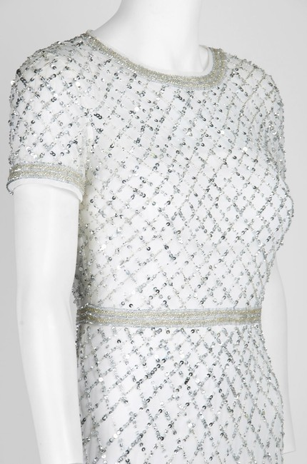 Adrianna Papell Beaded Gown Champagne Long Short Sleeve Dress Image 3