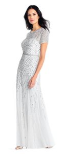 Adrianna Papell Beaded Gown Champagne Long Short Sleeve Dress