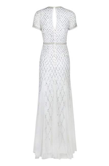 Adrianna Papell Beaded Gown Champagne Long Short Sleeve Dress Image 2