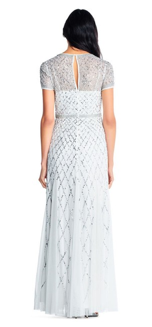 Adrianna Papell Beaded Gown Champagne Long Short Sleeve Dress Image 4