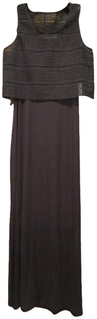 Item - Black Crocheted Cropped Popover Sleeveless Maxi Style No. Cd5n4a7g Long Night Out Dress Size 10 (M)