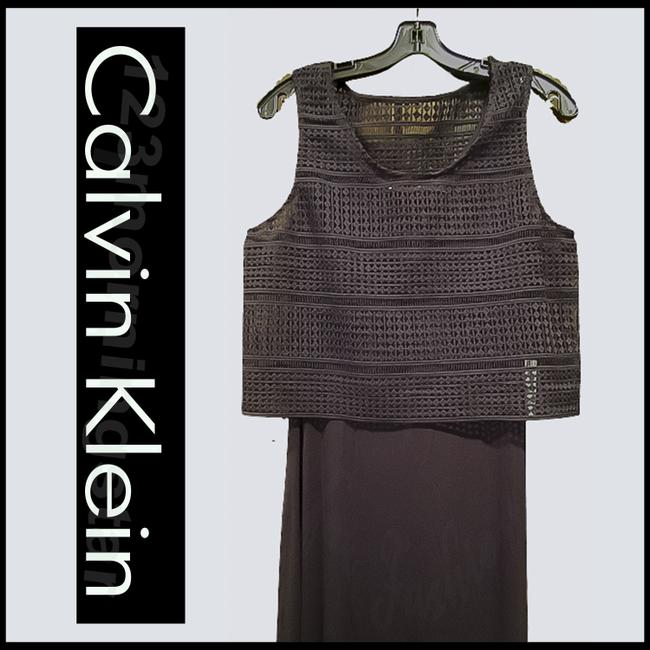 Calvin Klein Black Crocheted Cropped Popover Sleeveless Maxi Style No. Cd5n4a7g Long Night Out Dress Size 10 (M) Calvin Klein Black Crocheted Cropped Popover Sleeveless Maxi Style No. Cd5n4a7g Long Night Out Dress Size 10 (M) Image 2