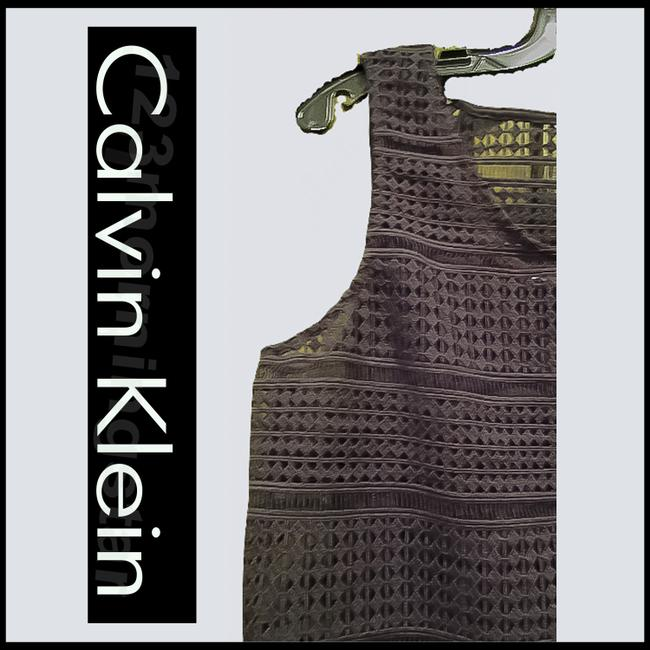 Calvin Klein Black Crocheted Cropped Popover Sleeveless Maxi Style No. Cd5n4a7g Long Night Out Dress Size 10 (M) Calvin Klein Black Crocheted Cropped Popover Sleeveless Maxi Style No. Cd5n4a7g Long Night Out Dress Size 10 (M) Image 3