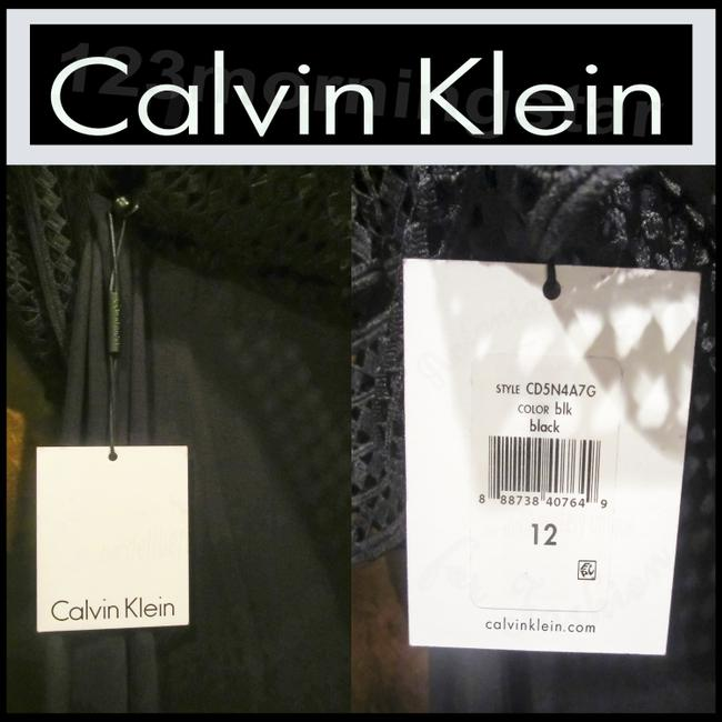 Calvin Klein Black Crocheted Cropped Popover Sleeveless Maxi Style No. Cd5n4a7g Long Night Out Dress Size 10 (M) Calvin Klein Black Crocheted Cropped Popover Sleeveless Maxi Style No. Cd5n4a7g Long Night Out Dress Size 10 (M) Image 5