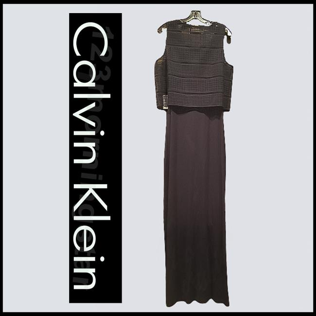 Calvin Klein Black Crocheted Cropped Popover Sleeveless Maxi Style No. Cd5n4a7g Long Night Out Dress Size 10 (M) Calvin Klein Black Crocheted Cropped Popover Sleeveless Maxi Style No. Cd5n4a7g Long Night Out Dress Size 10 (M) Image 7