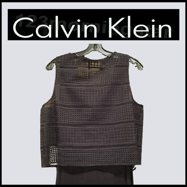Calvin Klein Black Crocheted Cropped Popover Sleeveless Maxi Style No. Cd5n4a7g Long Night Out Dress Size 10 (M) Calvin Klein Black Crocheted Cropped Popover Sleeveless Maxi Style No. Cd5n4a7g Long Night Out Dress Size 10 (M) Image 8