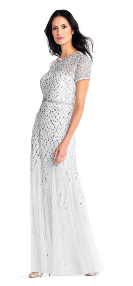 Adrianna Papell Ivory Silver Short Sleeve Beaded Godet Gown Long
