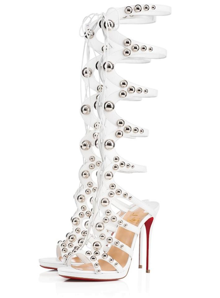 new concept 713fd 94fbb Christian Louboutin White Amazoutiful 120 Silver Studded Knee High  Gladiator Sandal Heel Pumps Size EU 38.5 (Approx. US 8.5) Regular (M, B)
