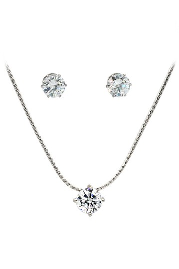 Preload https://img-static.tradesy.com/item/23645872/silver-small-single-crystal-earrings-set-necklace-0-0-540-540.jpg