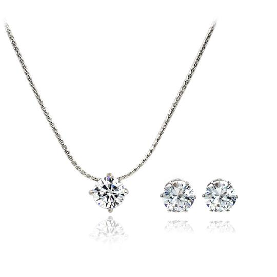 Ocean Fashion Small single crystal silver necklace earrings set Image 5