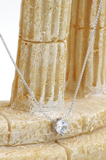 Ocean Fashion Small single crystal silver necklace earrings set Image 7