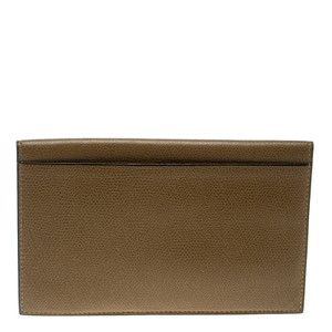 Valextra Brown Textured Leather Vertical Wallet
