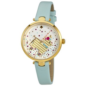 Kate Spade Clearance-SALE gold-tone and light blue leather holland watch