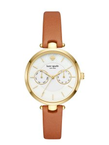 Kate Spade Clearance-SALE gold-tone and luggage leather holland watch