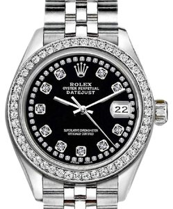Rolex Rolex Black Ladies 26mm Datejust with Custom Bezel and Diamond Dial Wa