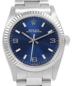 Rolex Rolex Midsize Steel 18K White Gold Blue Dial Ladies Watch 77014