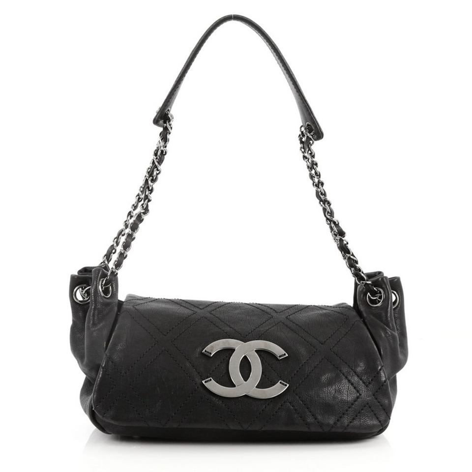 c05f56eca20f Chanel Classic Flap Diamond Stitch Accordion Quilted Calfskin Small Black  Leather Shoulder Bag
