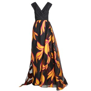 Black and Yellow Maxi Dress by Christian Siriano