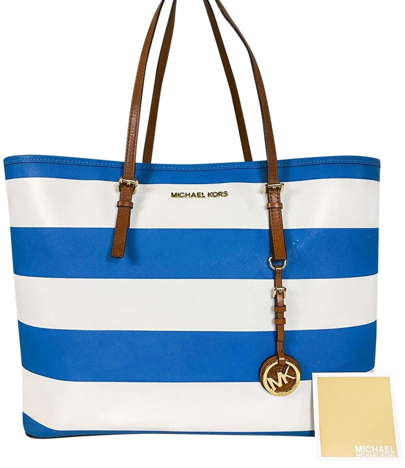 Michael Kors Striped Saffiano Leather Jet Set Travel Tote In Blue