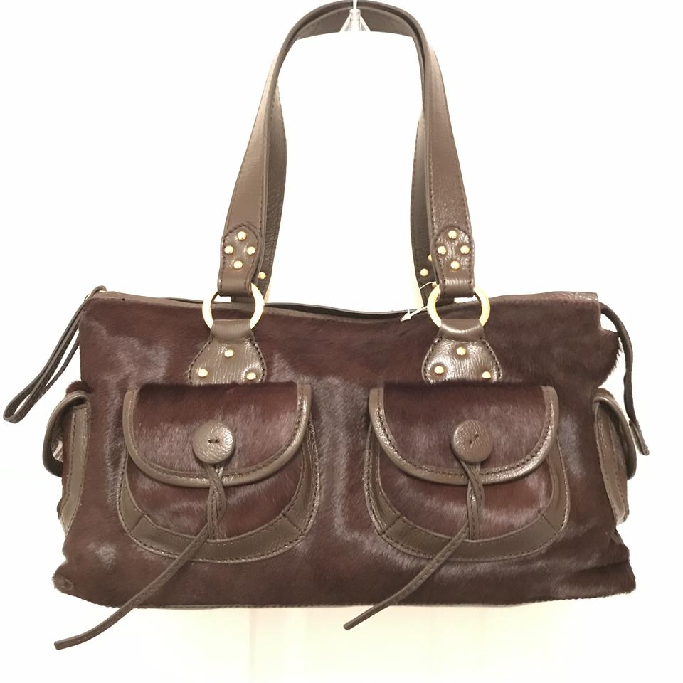 Hype Purse Handbag Shoulder Tote Calf Hair Satchel In Brown Gold