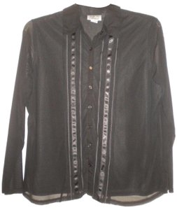 Stone & Co. Sheer Long Sleeves Button Front Ribbon Trim Lined Button Down Shirt Black