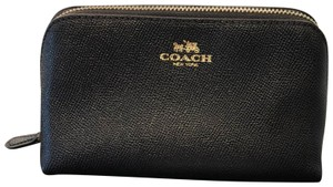 Coach New without Tag: Coach Black Crossgrain Leather 17 Cosmetic Bag / Make Up Travel Pouch (F57857)