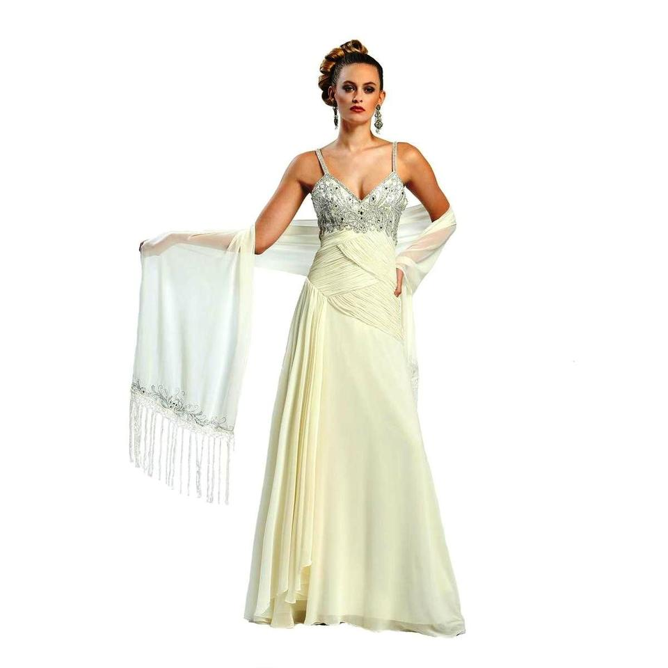 Sue Wong Ivory Chiffon Prom Strap Evening Gown Formal Dress Size 8 ...