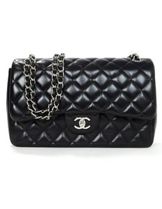 Chanel Quilted Flap Lambskin Silverotne Cross Body Bag