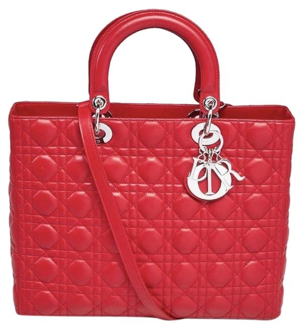Item - Lady Large Red Lambskin Leather Shoulder Bag