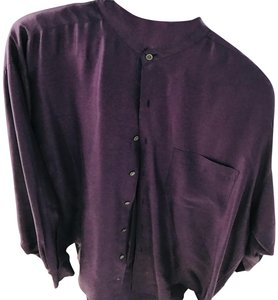 Bruno Menegatti Silk Men's Shirt Eggplant/Purple Longsleeve Button Down Shirt Eggplant-purple