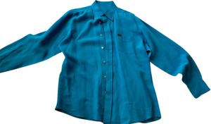 Façonnable Mens-shirt Long Sleeve Button Down Shirt French-Blue