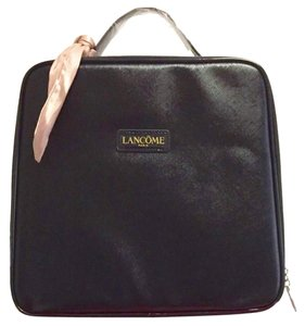 Lancome Faux Leather Zip Closure Versatile + Fun Great Gift Optional Pink Sash Black Travel Bag