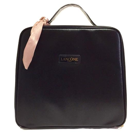 Lancome Faux Leather Zip Closure Versatile + Fun Great Gift Optional Pink Sash Black Travel Bag Image 1