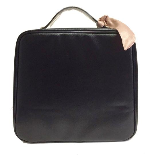 Lancome Faux Leather Zip Closure Versatile + Fun Great Gift Optional Pink Sash Black Travel Bag Image 4